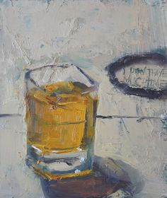 "Shot of Whiskey That Sings My Hearts Song by Ian Costello Oil ~ 7"" x 6"""