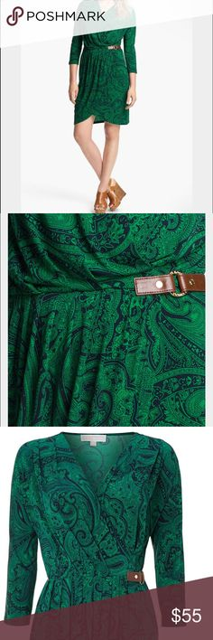 Michael Kors faux wrap dress Like new condition green faux wrap dress. jersey kinda fabric very elastic . Size P/S good for XS/S maybe M as well Michael Kors Dresses Mini