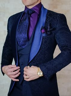 S by Sebastian Navy Blue Paisley Dinner Jacket Look. Get the complete look today! Be Bold. #sebastiancruzcouture