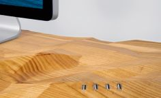 """desk design"" - The Blidu desk design by Tom Schuster has a gorgeous form that is not flat like the average work desk. Instead of a flat surface, the top of the de. Computer Desk Design, Work Desk, Wood Slab, Storage Cabinets, Design Crafts, Office Furniture, Home Office, Carving, Design Inspiration"