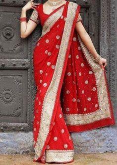 red border saree