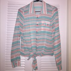 MINE Pastel Striped Blouse Top Sheer Shirt Worn twice. Like new. ✨Save $$$ when bundling with other items. 📍NO TRADE Mine Tops Blouses