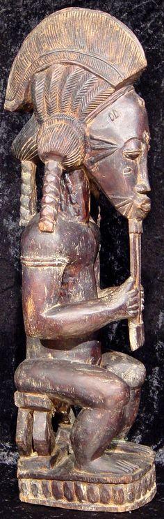 Baule, Baoule king statue, Ivory Coast, Cote d'Ivoire, #y2169-1, authentic African tribal art