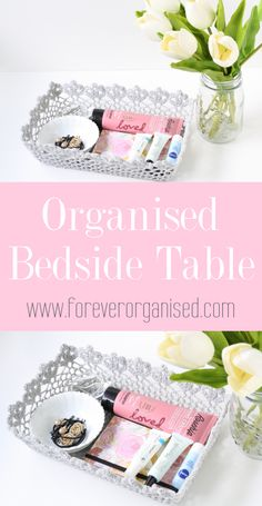I had to be a little creative when coming up with an organising solution for my bedside table. This crochet basket the perfect size to fit all my night time essentials.
