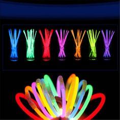 """Partie 100 pcs 8 """"Glow Light Bâtons Bracelet Collier Lumière Multi Coloré Néon"""