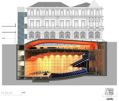 corte longitudinal – sala de concertos | longitudinal section – concert hall – Arquitetos Associados