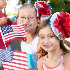 For a more feminine touch to celebrate our country's forefathers, craft these red, white, and 'bloom' barrettes.
