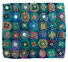 by morna crites-moore. Morna loves to gather found textiles to assemble and collage into rugs and mini quilts. She felts her wool from recycled sweaters and blankets to create her playful variations on penny rugs and folk art images
