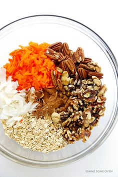 This carrot cake granola recipe is easy to make, naturally vegan and gluten-free, and it celebrates all of the classic carrot cake flavors we love! Baking Recipes, Whole Food Recipes, Great Recipes, Favorite Recipes, Healthy Snacks To Make, Healthy Eating, Healthy Recipes, Healthy Desserts, Healthy Food