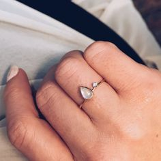 Asymmetrical Moonstone Ring - local eclectic   - 9