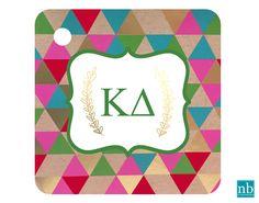 Sorority Kappa Delta Greek Letters Key Chain/ Bag Tag Monogram/ Big/Little option for gift!! More@ newbeginningdesigns.com