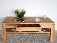Massivholz Couchtisch 115x70 Wohnzimmertisch 1 Schubkasten Kernbuche massiv geöl in Möbel & Wohnen, Möbel, Tische | eBay