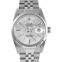 Pre-owned Rolex Watch ($3,175) ❤ liked on Polyvore featuring jewelry, watches, bracelets, apparel & accessories, white, water proof watches, wristband watches, waterproof watches, white wrist watch and white bracelet watches
