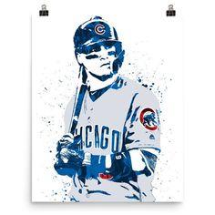Javier Baez Chicago Cubs Poster, Sports Art Print, Baseball Poster, Kids Decor, Man Cave Baseball Posters, Cubs Baseball, Baez Cubs, Fifa Teams, Cub Sport, Baseball Painting, Cubs Win, Go Cubs Go, Memphis Grizzlies