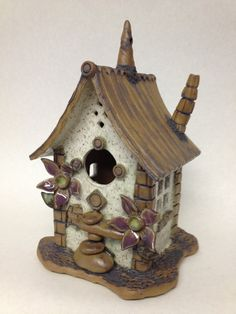 Whimsical Clay Birdhouse / Item Number 04 by MorningsWork on Etsy, $40.00