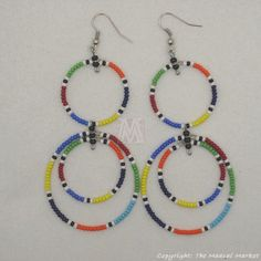 Multi Color Maasai Bead Loop Earring