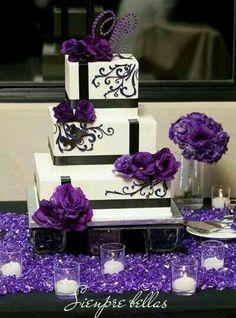 Purple black and white wedding cake