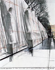 "Christo, Wrapped Monument to Farel - Calvin - Beze - Knox ""Le Mur de Réformateur"" (Project for Geneva) Drawing 1977, 28 x 22"" (71 x 56 cm) Pencil, charcoal pastel, wax crayon and photograph"