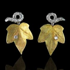 CARTIER.c1950.18ct yellow gold and diamond Ivy design earclips