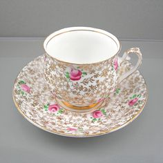 Vintage Teacup & Saucer Set Pink Roses with Gold Foliage Phoenix Bone China Made in England 1950-60s