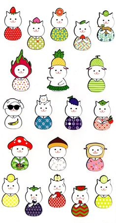 Jamong Cat Stickers Fresh Fruits Designed by Gbong Cat Stickers 24f39a4db9e