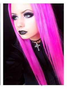 Magenta pink electric hair