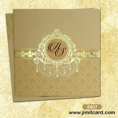 This #ClassicCard has a golden border on bottom and encloses floral designs.The middle of the #Invitation with a design of Embossed Gold self-design in ethnic art presents a unique creativity.  Check out more on www.jimitcard.com
