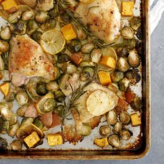 A delicious and satisfying meal all on one pan -- lemon rosemary chicken thighs with sweet potatoes and Brussels sprouts.