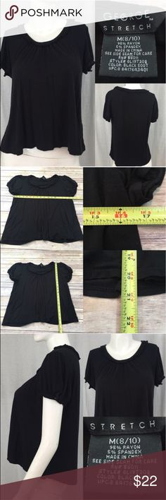 Sz Medium George Short Sleeve Black Flowy Crop Top • Measurements are in photos  • Material tag is in photos • Normal wash wear, no flaws • Short Sleeves  • A-line  • Loose Fit  C1  Thank you for shopping my closet! George Tops Blouses