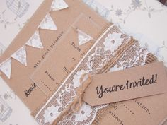 Custom Listing for Lauren Nelson - 60 x Rustic Wedding Invitation Lace Bunting on Kraft Card 2nd Instalment