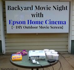 Backyard Movie Night with Epson Home Cinema and DIY Outdoor Movie Screen that is easy to make and affordable! Check out my review of the Epson Home Cinema.