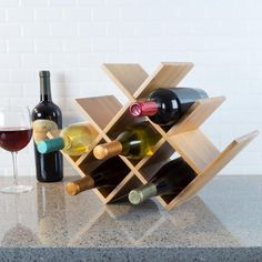 Bamboo 8 Bottle Wine Rack-Space Saving Tabletop Free Standing Wine Bottle Holder for Kitchen, Bar, Dining Room-Modern Storage Shelf by Classic Cuisine Wine Rack Wall, Wood Wine Racks, Wine Bottle Holders, Wine Bottles, Diy Wine Racks, Wood Wine Holder, Small Wine Racks, Wine Corks, Wine Decanter