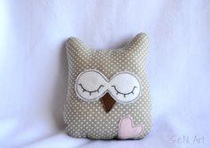 Small Owl Pillow Handmade Owl Soft Toy Nursery Decor by SenArt1