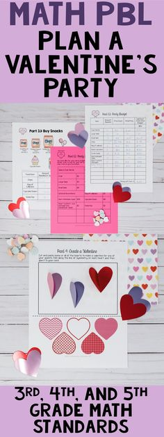 Valentine's Day Math Project-Based Learning: Practice the 3rd, 4th, and 5th grade math standards by planning a valentines day party. This is a PBL activity, so it included in depth inquiry!