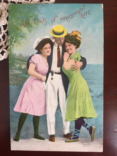"Vintage 1900s Edwardian Era Risque Beach Side Beauties Unused Postcard - ""All kinds of amusement here"""