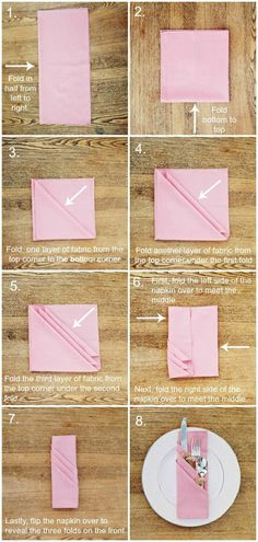 comment plier la serviette d'un mode original, serviette rose