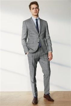 Grey Check Slim Fit Suit | style | Pinterest | Slim fit suits and ...