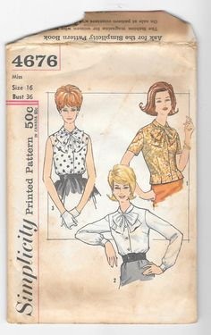 Vintage 1950s Womens Blouses with Bow at Collar Simplicity 4676 Sewing Pattern…