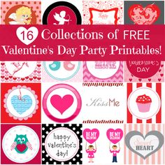 16 collections of free Valentine's Day party printables -- invitations, Valentines, decorations. #valentinesday