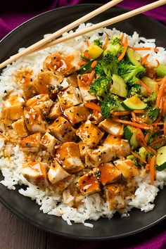 need BBQ grill - Teriyaki Grilled Chicken and Veggie Rice Bowls - Cooking Classy Veggie Rice Bowl, Chicken Rice Bowls, Asian Recipes, Healthy Recipes, Delicious Recipes, Tasty, Teriyaki Chicken And Rice, Riced Veggies, Clean Eating