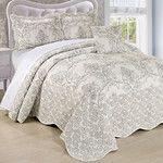 Damask Embroidered 4 Piece Quilt Bedspread Set