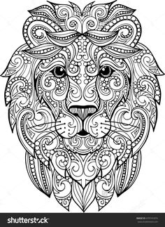 Hand Drawn Doodle Zentangle Lion Illustration. Decorative Ornate Vector Lion Head Drawing For Coloring Book - 479741074 : Shutterstock
