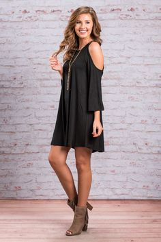 """""""Find Your Balance Dress, Black""""You have found the perfect balance of comfy and totally cute in this dress! The strappy shoulders paired with the cold shoulder cut are so cute! #newarrivals #shopthemint"""