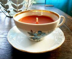 Kynttilöiden ja kahvikuppien uusiokäyttöä.