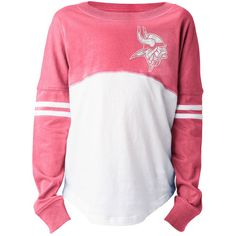 Minnesota Vikings 5th & Ocean by New Era Girls Youth Varsity Crew Long Sleeve T-Shirt – White/Pink