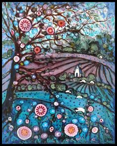 Large premium PRINT12x18 Blue flower treehouse by jeanvadalsmith, $24.00