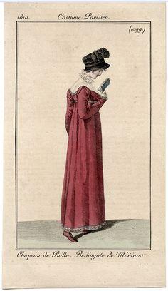 Costume Parisien 1810. Regency fashion plate.
