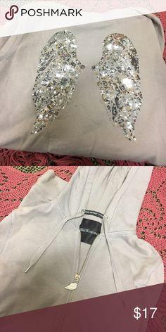 victoria's secret angel sweatshirt grey zippie, small stain on back, worn a decent amount Victoria's Secret Sweaters