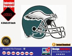 Embroidery Store, Embroidery Files, Machine Embroidery Designs, Philadelphia Eagles Helmet, My Etsy Shop, Logo Design, Stitch, Check, Full Stop