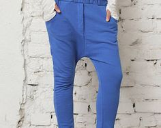 Blue Harem Pants, Cotton Trousers, Minimalist Pants, Low Crotch Pants, Plus Size Clothing, Baggy Pants, Summer Trousers, Hippie Pants
